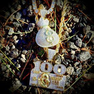 Simulated Diamond Money Necklace Set